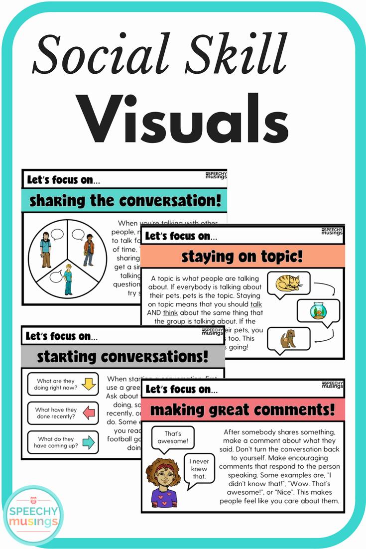Social Work Worksheets Elegant social Skill Visuals Speechy Musings