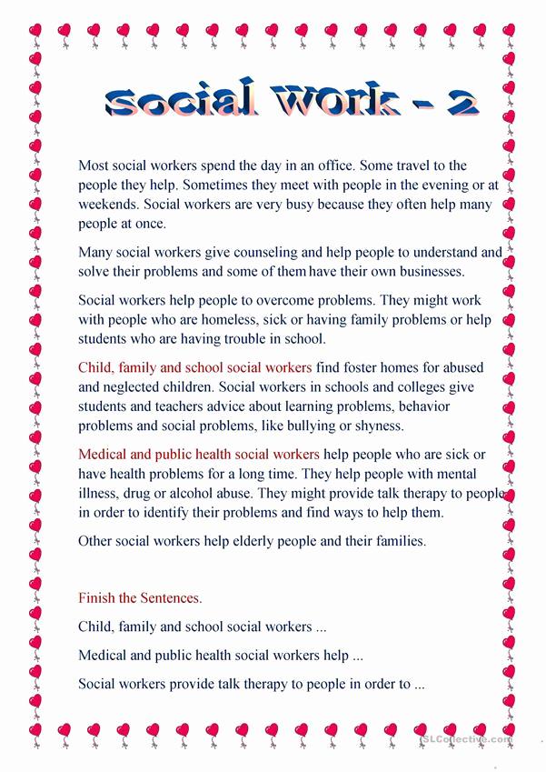 Social Work Worksheets Unique social Work 2 English Esl Worksheets for Distance