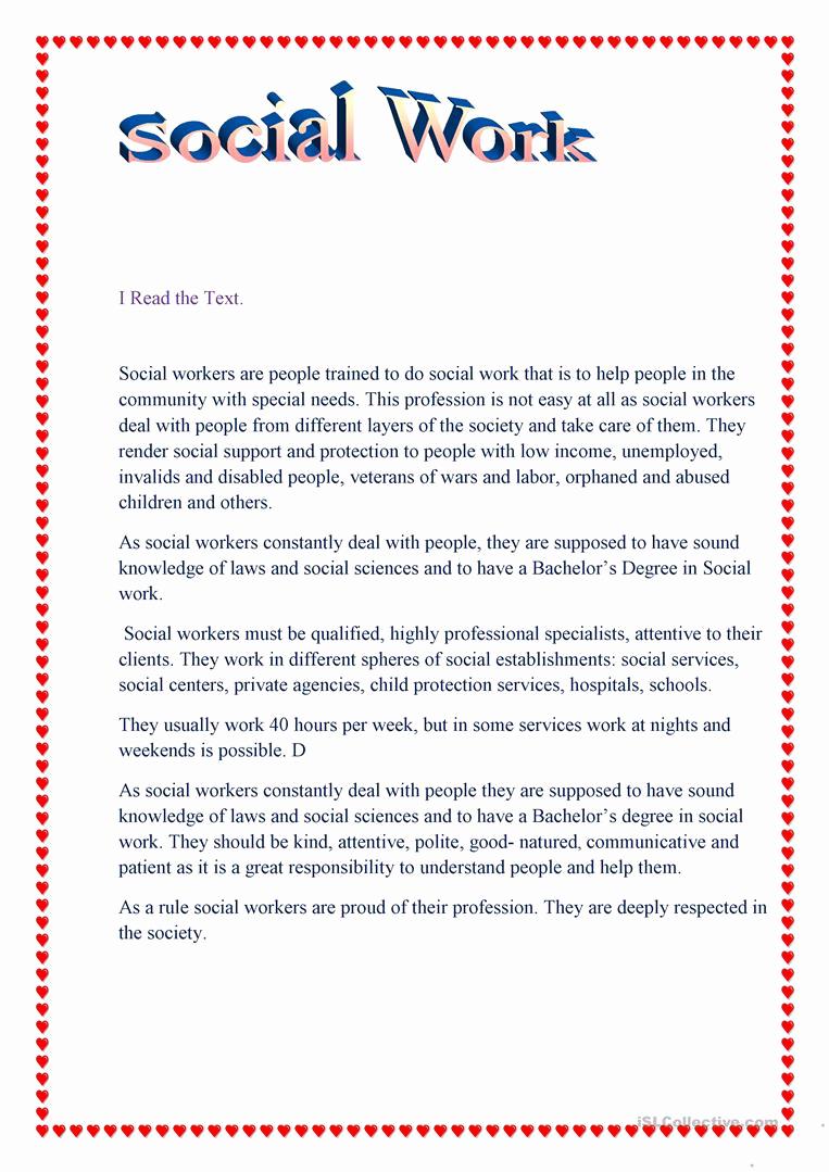 Social Work Worksheets Unique social Work English Esl Worksheets for Distance
