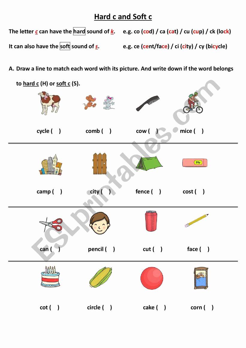Soft C Words Worksheets Beautiful 30 soft C Worksheets
