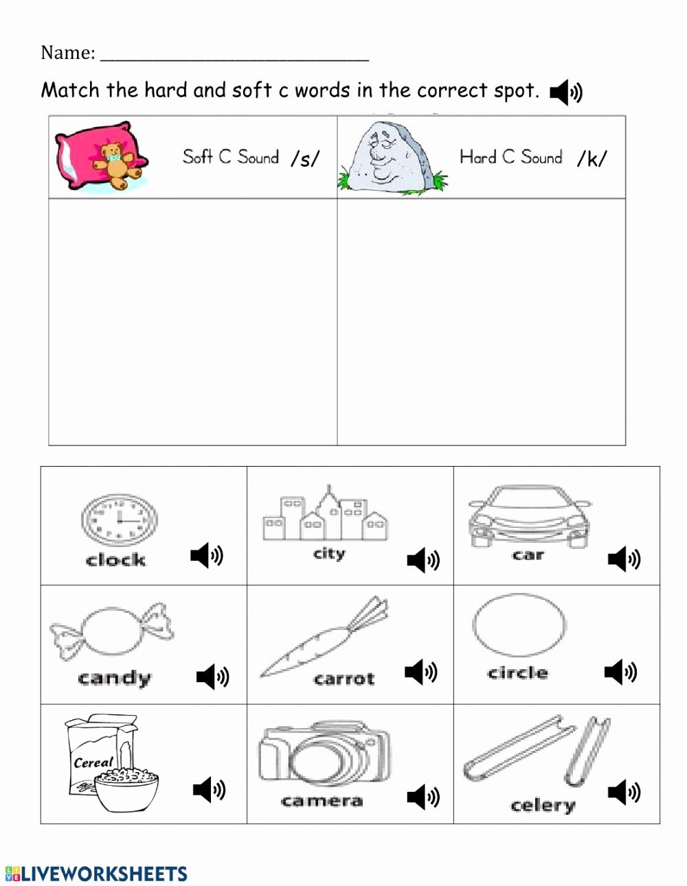Soft C Words Worksheets Best Of 20 soft C Words Worksheets Dzofar Printable Worksheets