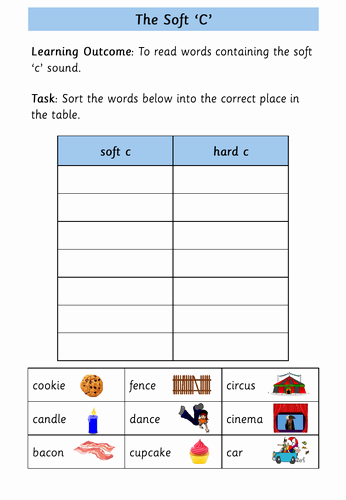 Soft C Words Worksheets Lovely Worksheet On Words Containing the soft C sound by