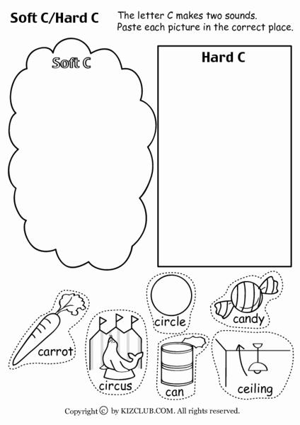 Soft C Words Worksheets Unique soft C Hard C Worksheet for Kindergarten 1st Grade