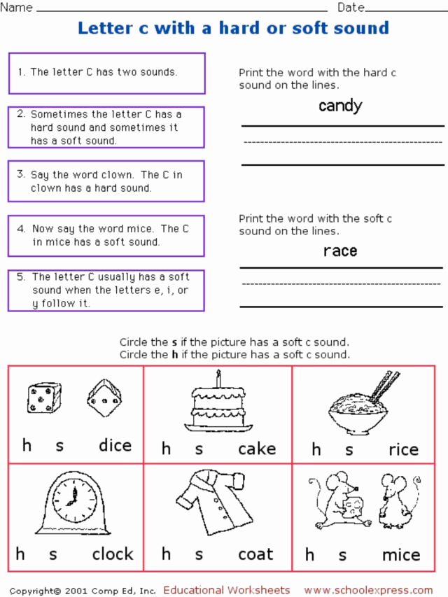 Soft C Worksheets Best Of Letter C with A Hard or soft sound Worksheet for 1st 2nd
