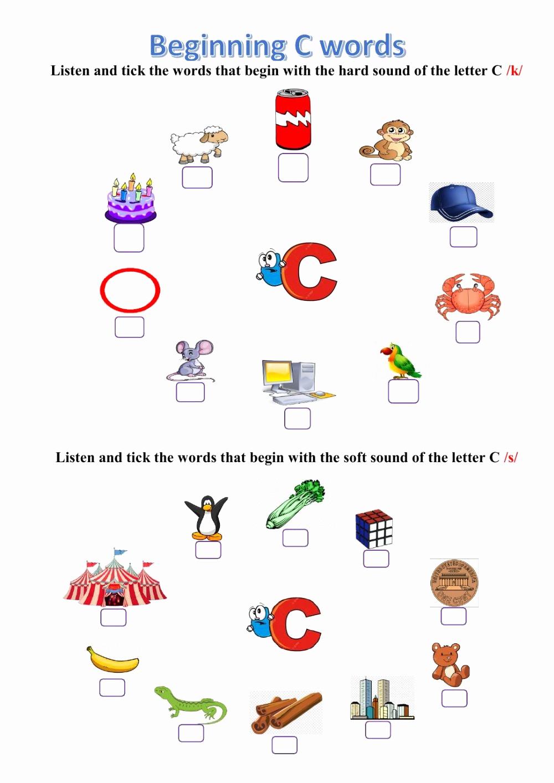 Soft C Worksheets Lovely 20 soft C Words Worksheets Dzofar Printable Worksheets