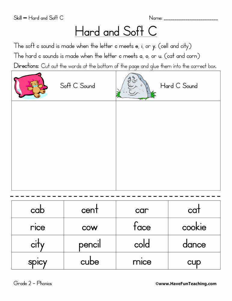 Soft C Worksheets Unique Hard C and soft C Worksheet