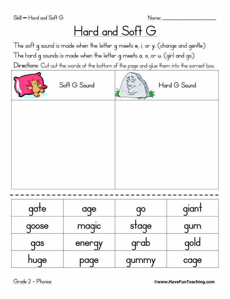 Soft G Worksheet Inspirational Hard G and soft G Worksheet