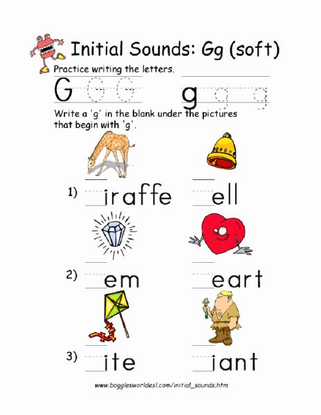 Soft G Worksheet Inspirational Initial sound soft G Worksheet for Pre K 1st Grade