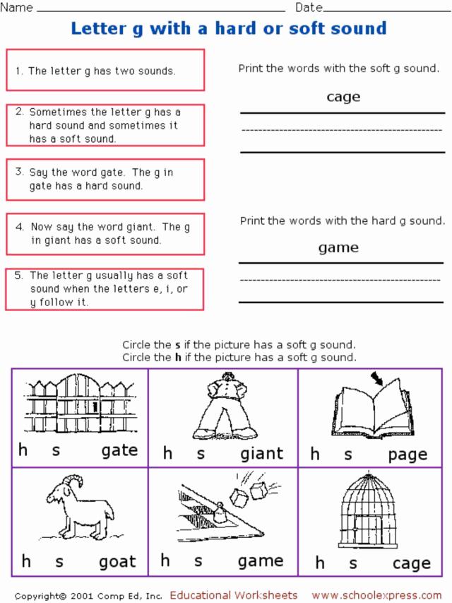 Soft G Worksheet Inspirational Letter G with A Hard or soft sound Worksheet for 1st 2nd