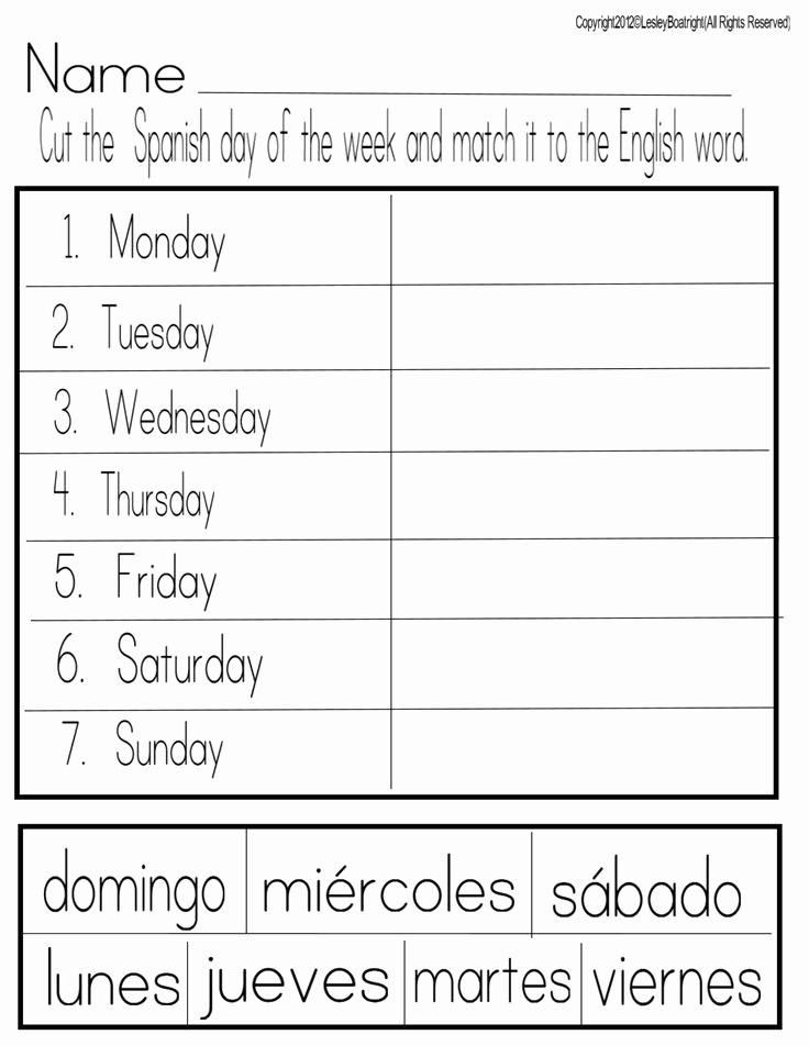 Spanish Kindergarten Worksheets Beautiful Spanish Days Of the Week Worksheet