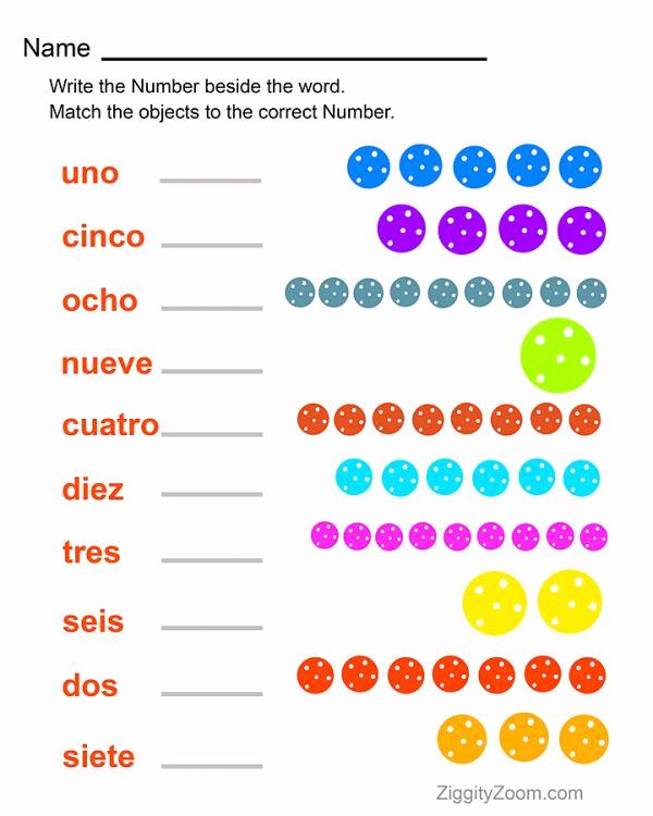 Spanish Kindergarten Worksheets Best Of Spanish Numbers Worksheet