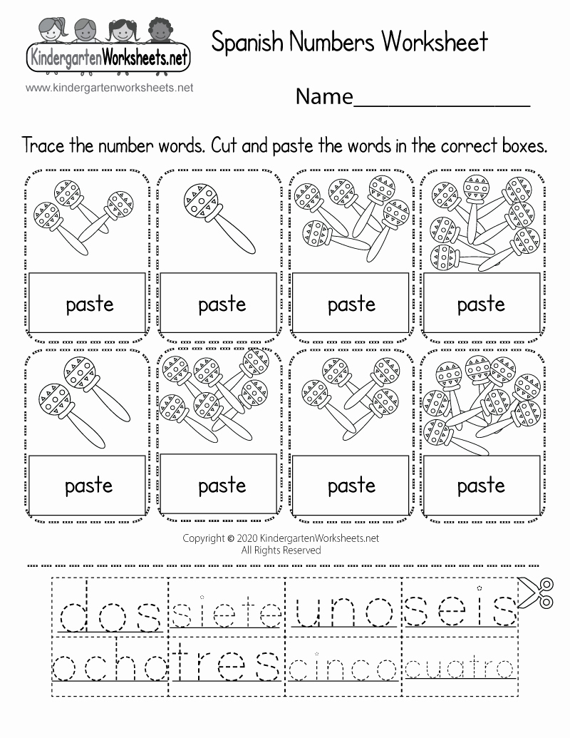 Spanish Kindergarten Worksheets Elegant Spanish Numbers Worksheet for Kindergarten Free Printable