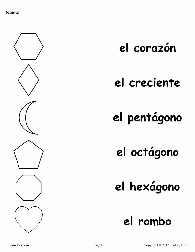 Spanish Kindergarten Worksheets Fresh 4 Free Preschool Spanish Shapes Matching Worksheets