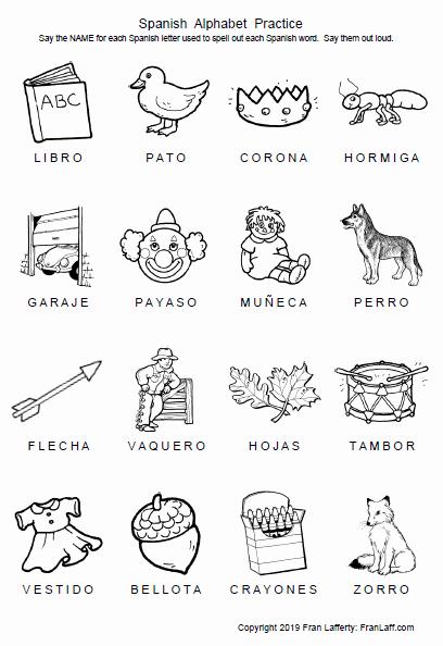 Spanish Kindergarten Worksheets Lovely Spanish Alphabet – Franlaff