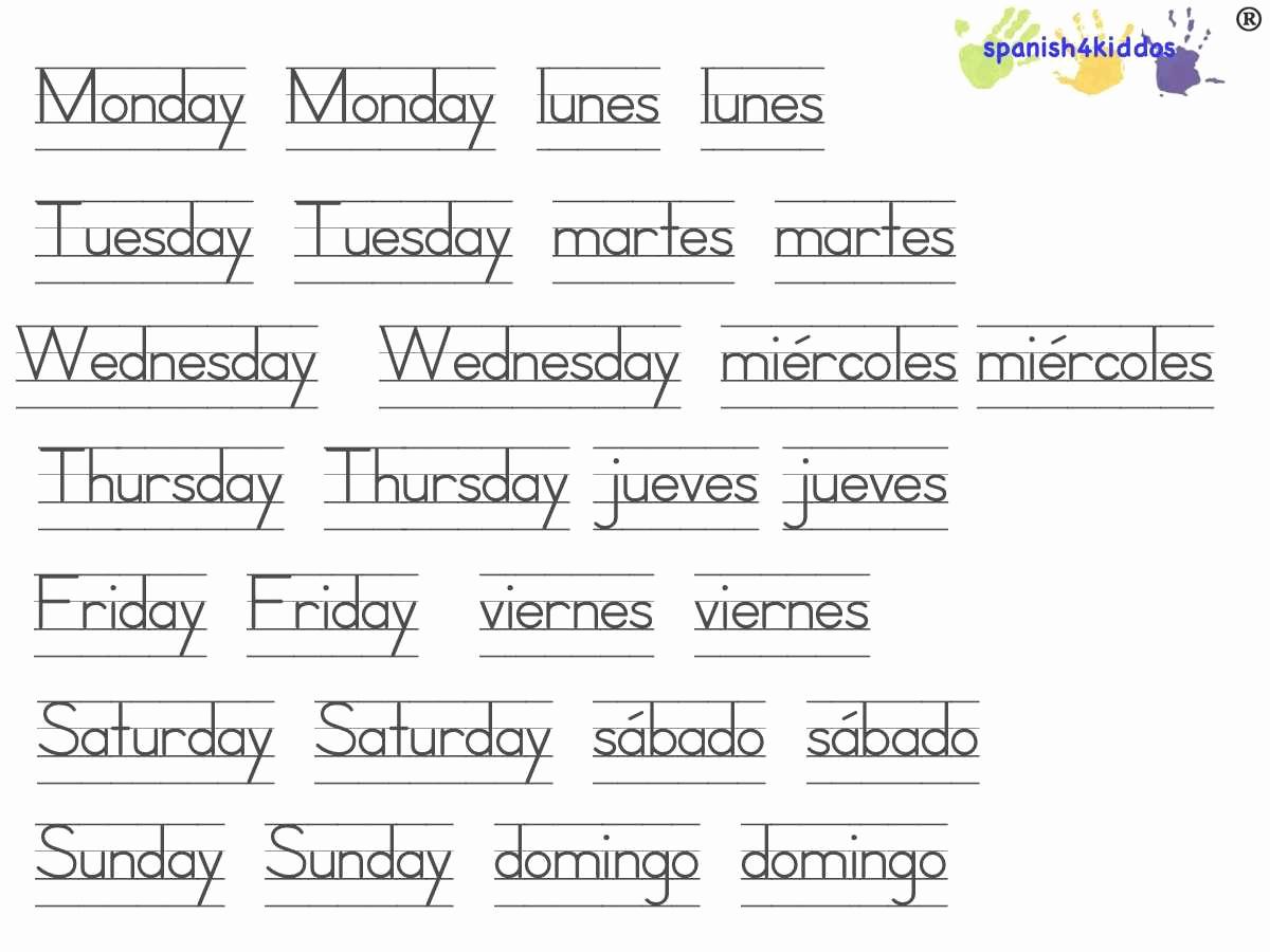 Spanish Kindergarten Worksheets Luxury Days Of the Week Printable