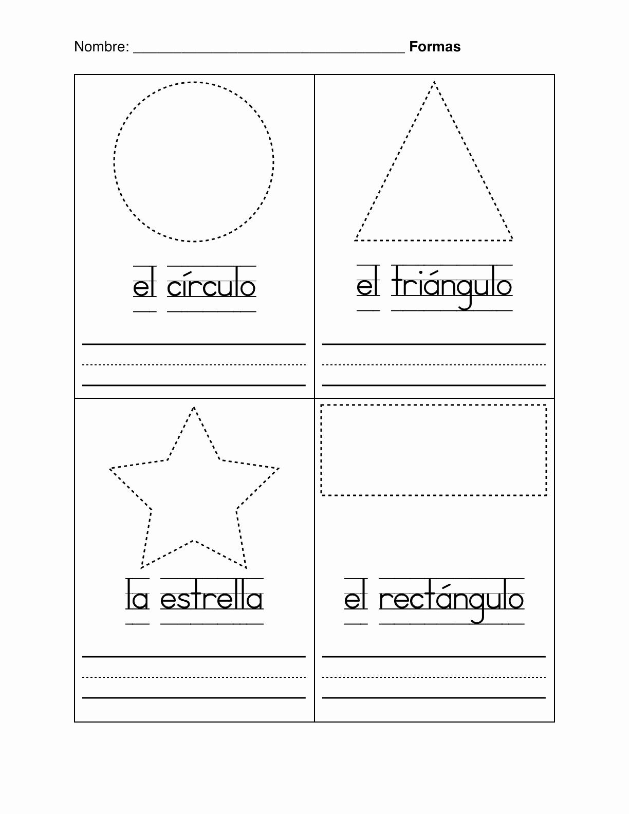 Spanish Kindergarten Worksheets Luxury Spanish Montessori Basic Shapes In Spanish formas