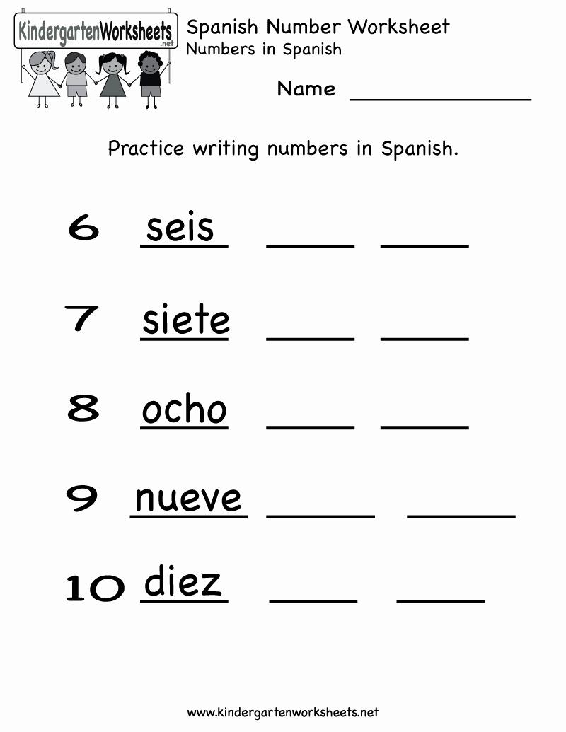 Spanish Kindergarten Worksheets New Free Printable Spanish Worksheets for Beginners