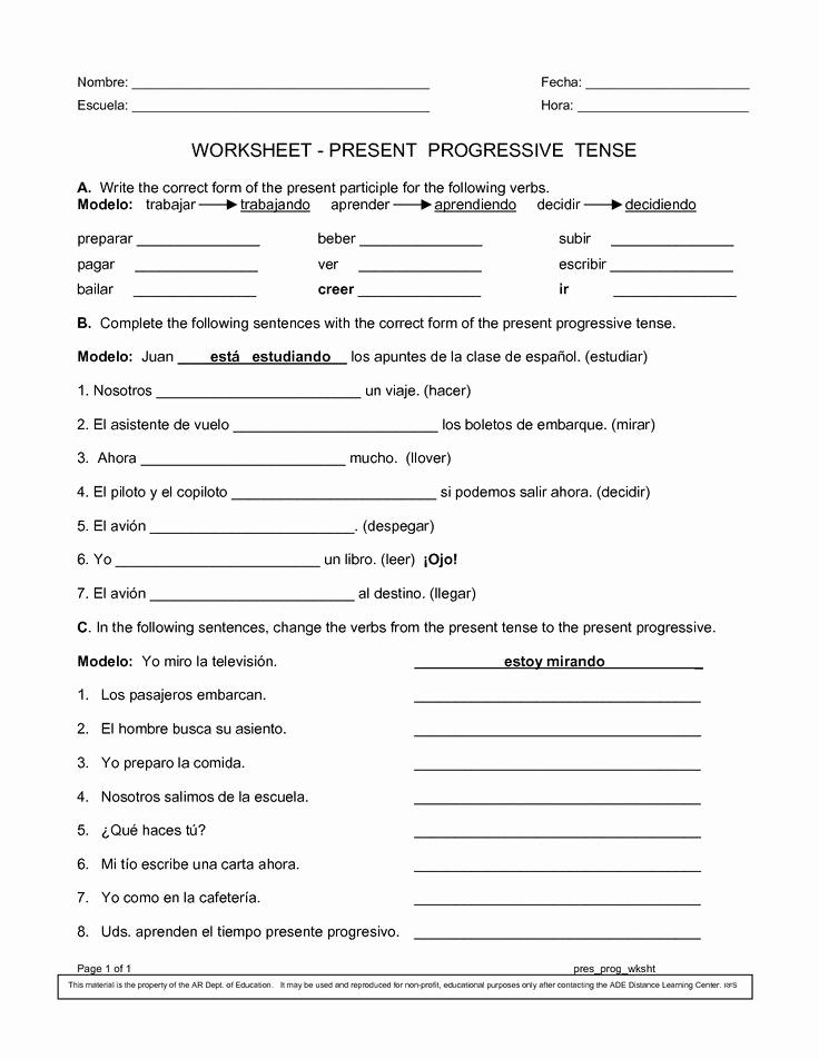 Spanish Present Progressive Worksheets Fresh 14 Best Of Spanish Present Tense Worksheets Pdf