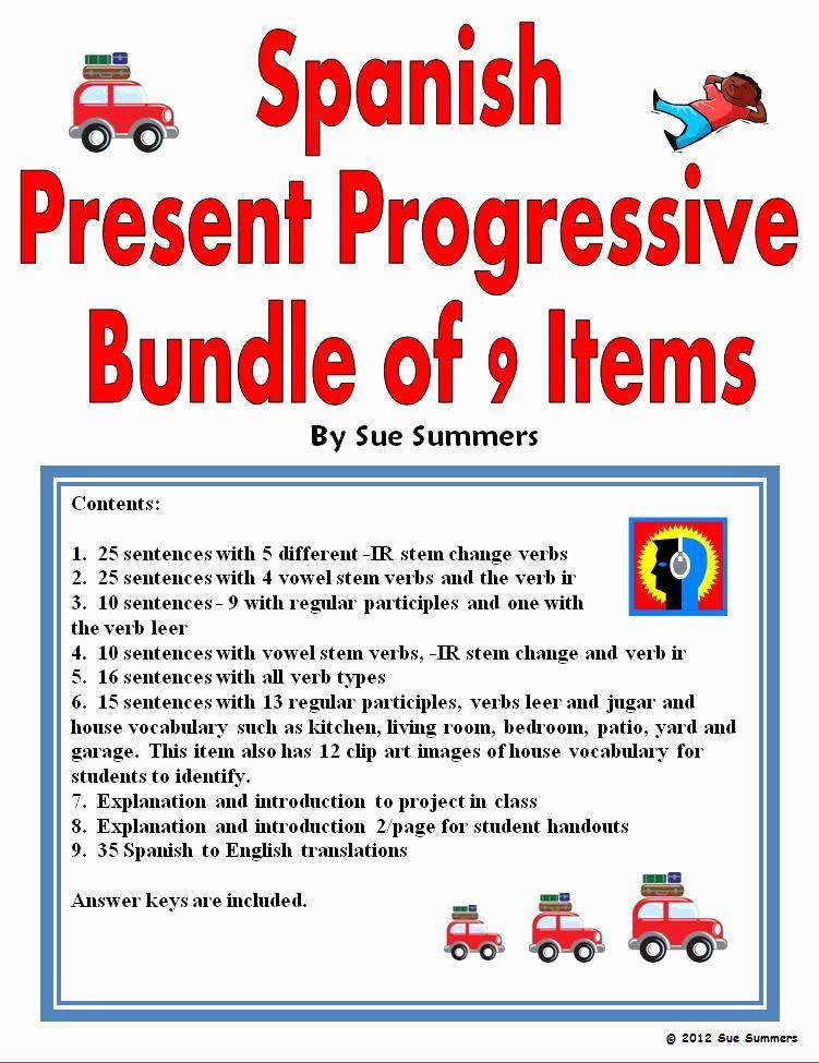 Spanish Present Progressive Worksheets Inspirational Present Progressive Spanish Worksheet Answers In 2020