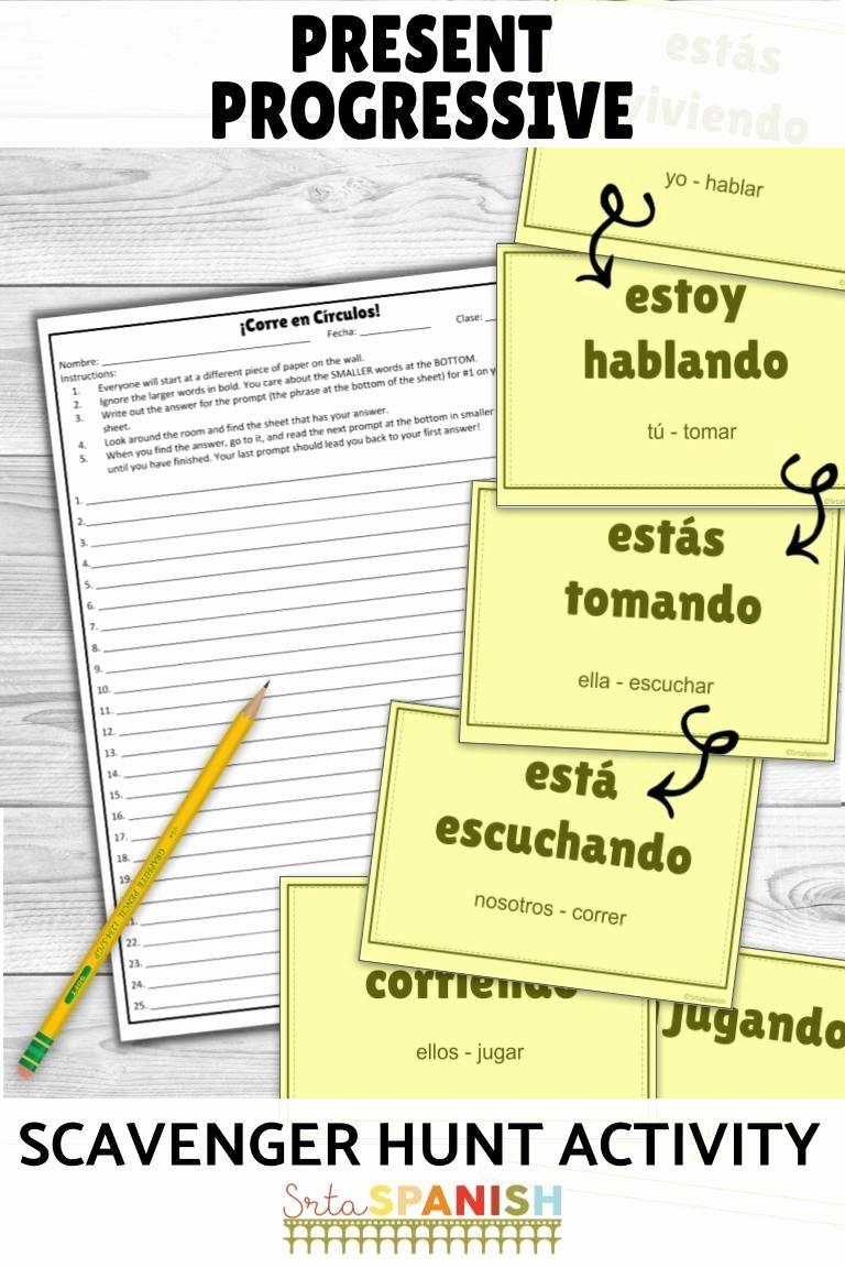 Spanish Present Progressive Worksheets New Present Progressive Spanish Worksheet Answers Present