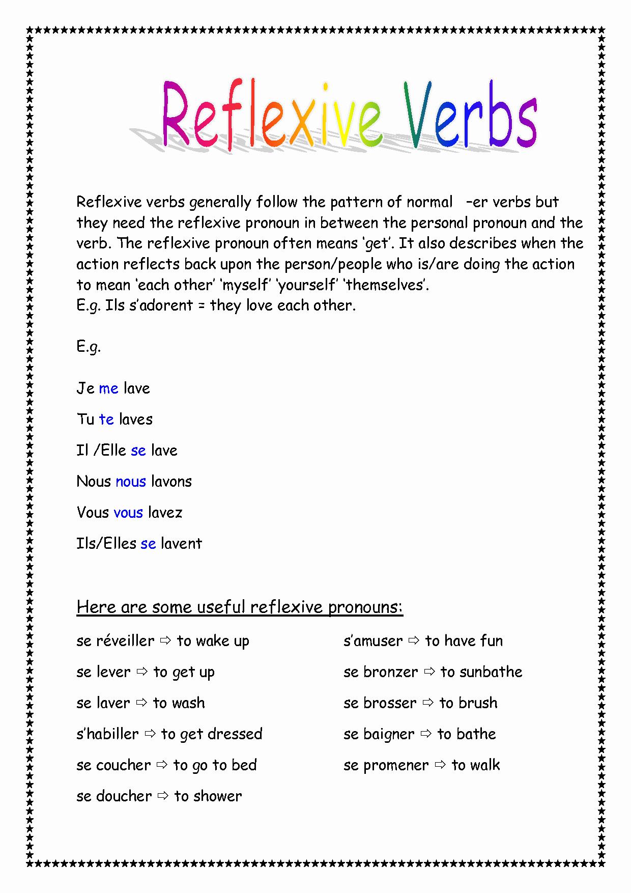 Spanish Reflexive Verbs Worksheet Printable Beautiful 26 Reflexive Verbs Spanish Worksheet Worksheet Project List