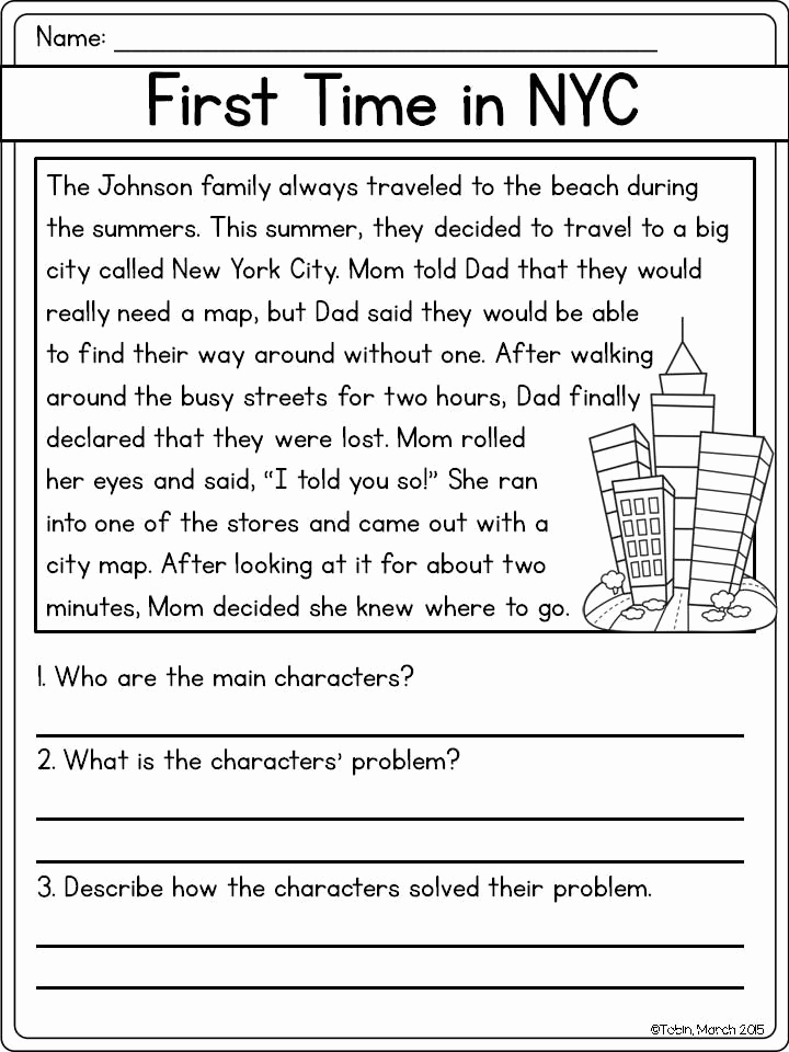 Story Elements Worksheets 2nd Grade Luxury Character Response Rl2 3