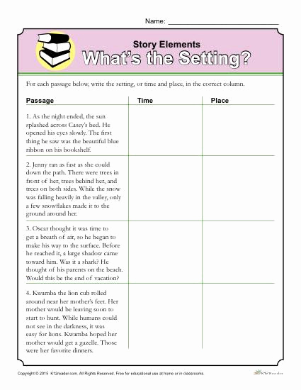 Story Elements Worksheets 2nd Grade Unique 20 Story Elements Worksheet 2nd Grade
