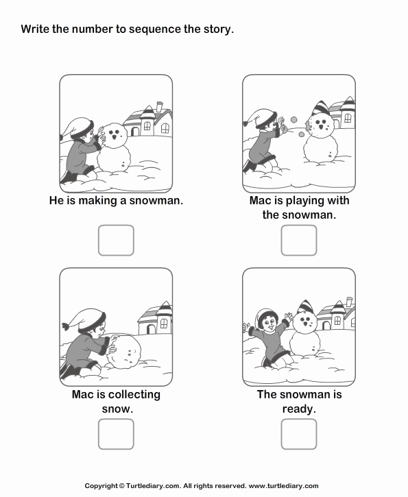 Story Sequence Pictures Worksheets Luxury Story Sequencing Mac and Snowman Worksheet Turtle Diary