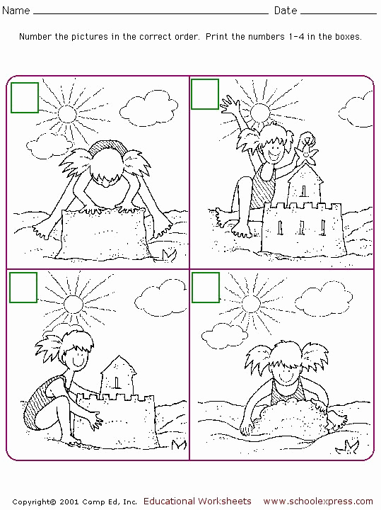 Story Sequencing Worksheets for Kindergarten Beautiful Schoolexpress Free Worksheet for Sequencing