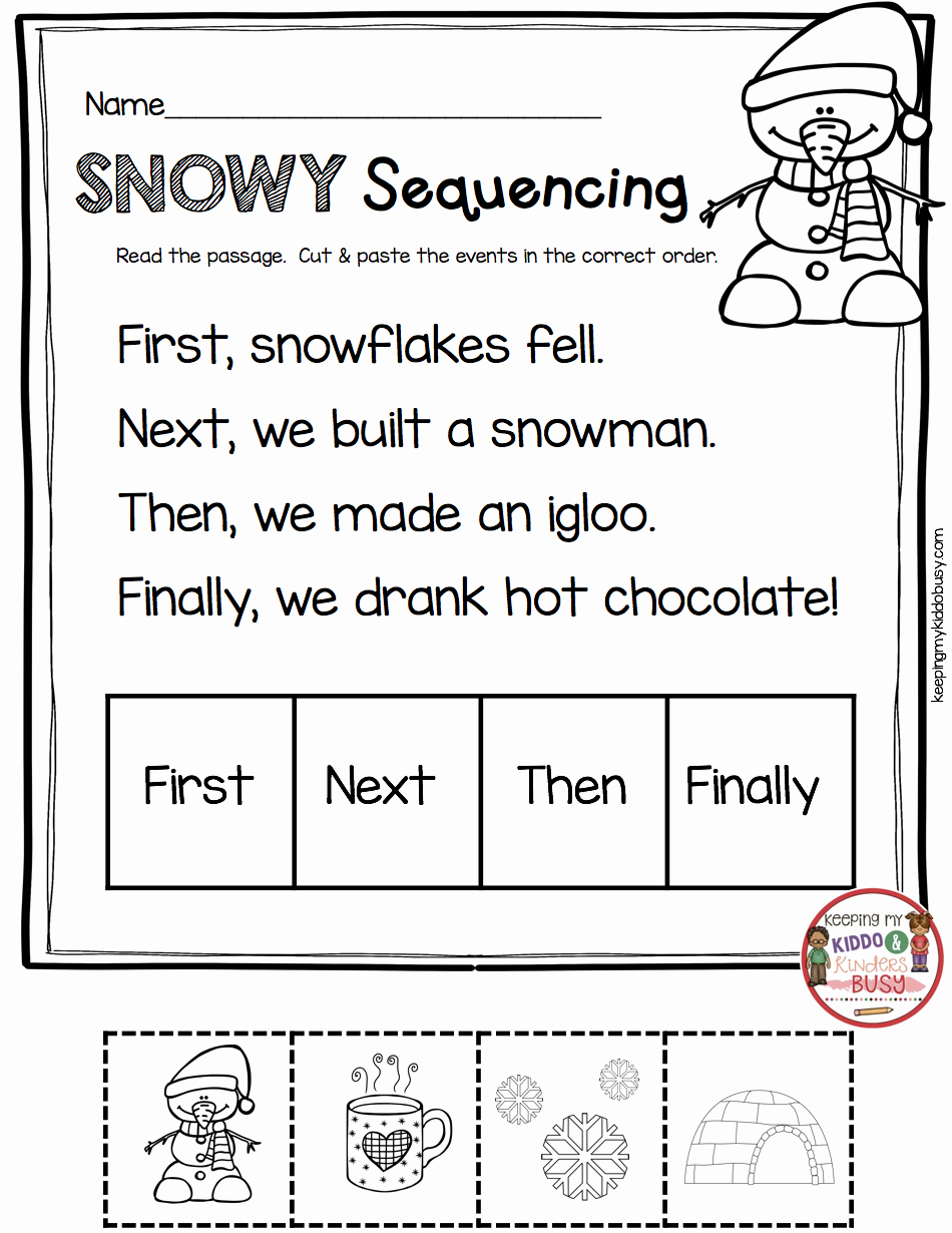 Story Sequencing Worksheets for Kindergarten Lovely January No Prep Math & Literacy Pack Freebies — Keeping