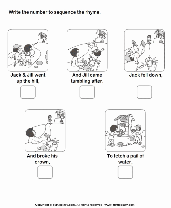 Story Sequencing Worksheets for Kindergarten New Story Sequencing Jack and Jill Worksheet Turtle Diary