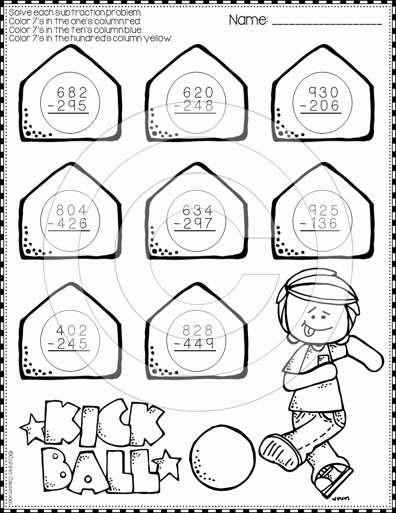 Subtraction with Regrouping Coloring Worksheets Awesome Back to School 3 Digit Subtraction with Regrouping Color