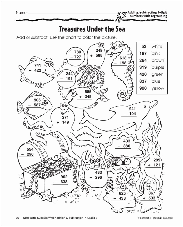 Subtraction with Regrouping Coloring Worksheets Awesome Subtraction with Regrouping Coloring Pages