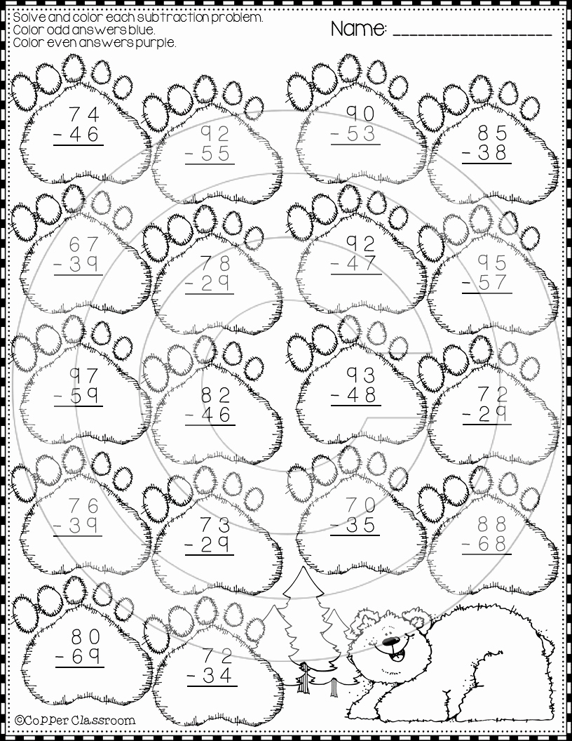 Subtraction with Regrouping Coloring Worksheets Beautiful Winter 2 Digit Subtraction with Regrouping Color by Code