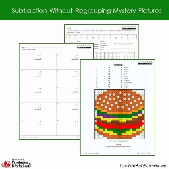 Subtraction with Regrouping Coloring Worksheets Elegant 2nd Grade Subtraction without Regrouping Coloring