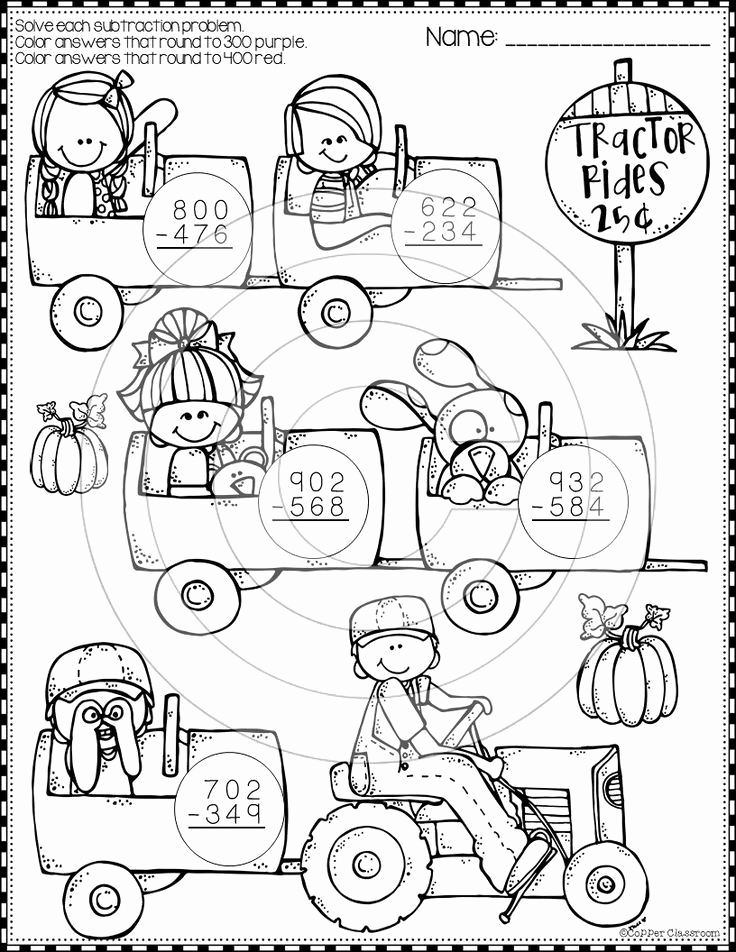 Subtraction with Regrouping Coloring Worksheets Fresh Fall 3 Digit Subtraction with Regrouping Color by Code