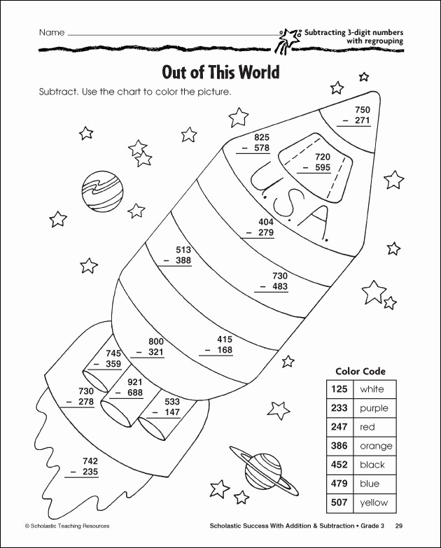 Subtraction with Regrouping Coloring Worksheets Luxury 27 Helpful Subtraction Colors by Number