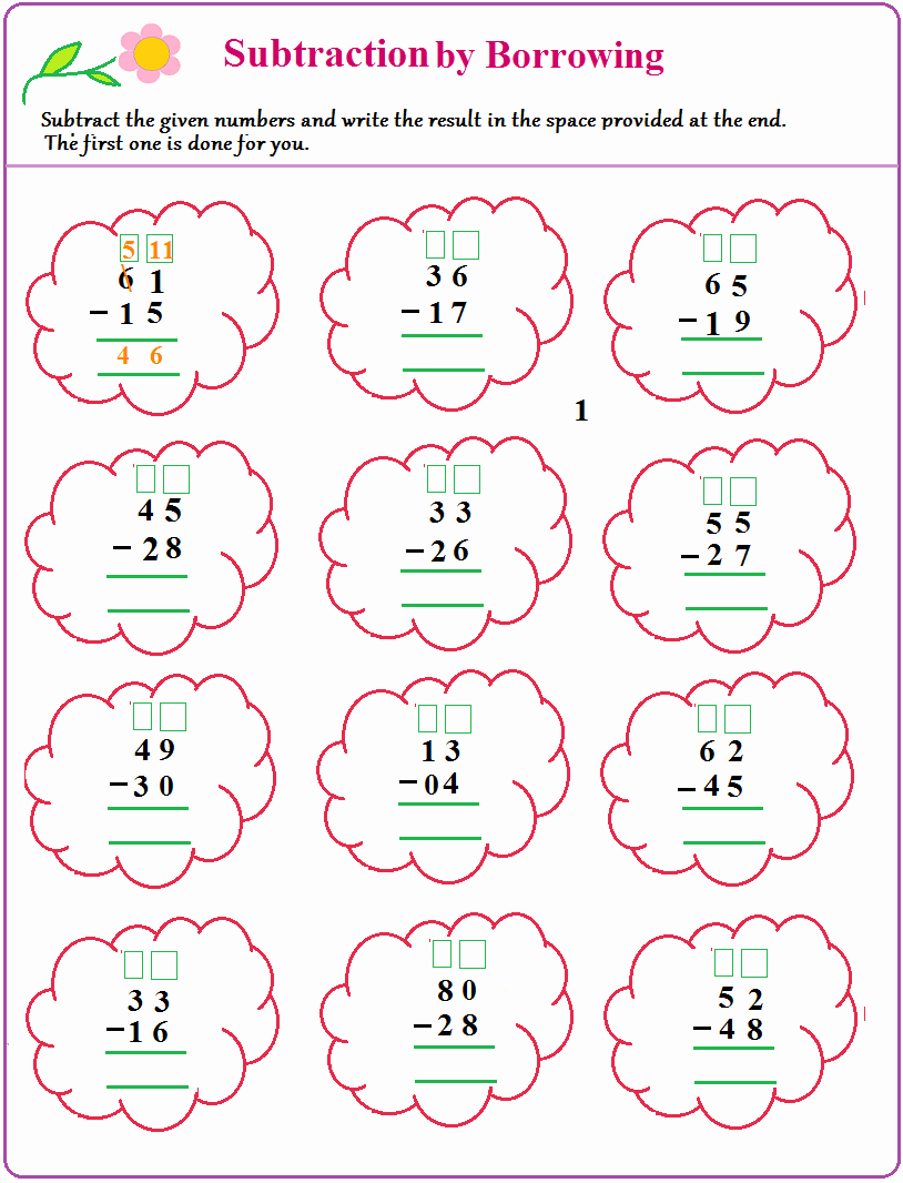 Subtraction with Regrouping Coloring Worksheets Unique Subtraction with Regrouping Coloring Worksheets