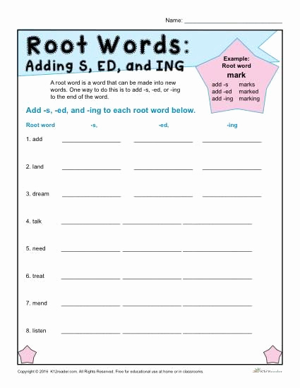 Suffix Ed Worksheets Luxury Root Words Worksheets