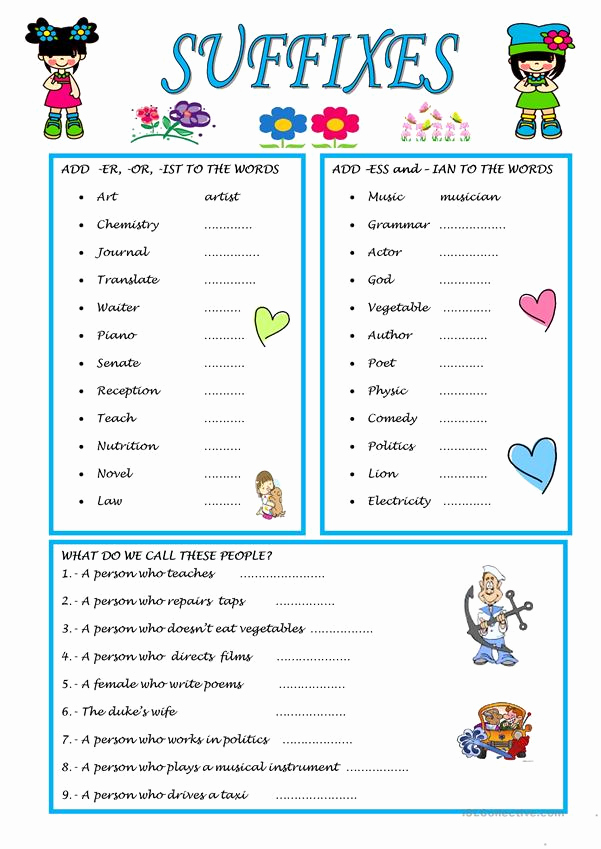 Suffix Ing Worksheet Unique Suffixes English Esl Worksheets for Distance Learning