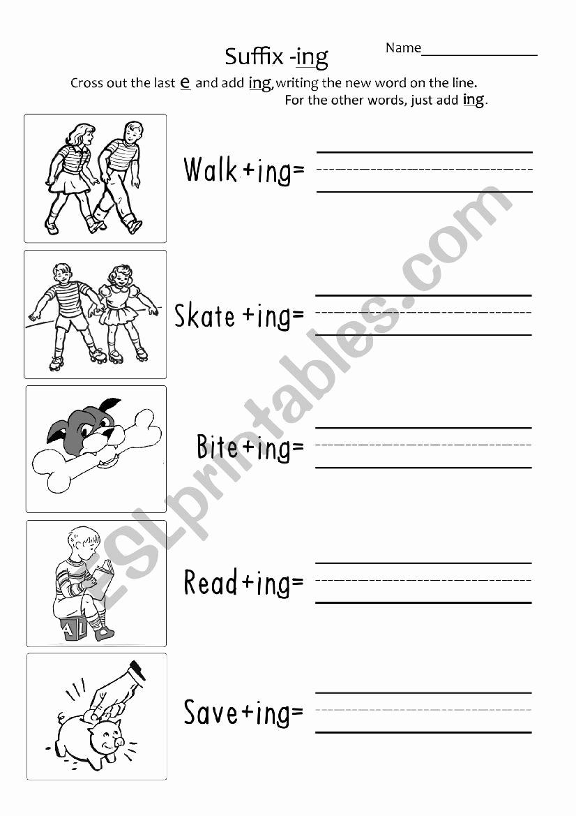 Suffix Ing Worksheets Inspirational Suffix ´ Ing´ Year 1 2 Esl Worksheet by Taraericson