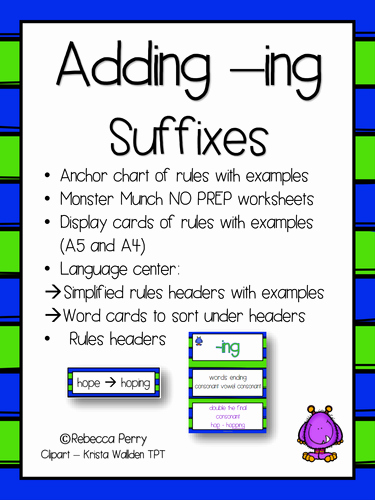 Suffix Ing Worksheets Lovely Suffixes Ing English Literacy Activities No Prep