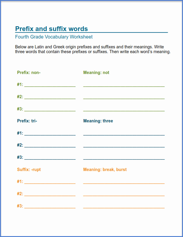 Suffix Worksheets for 4th Grade Unique 4th Grade Worksheets Best Coloring Pages for Kids