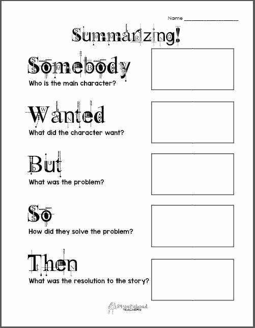 Summarizing Worksheet 3rd Grade Unique Summarizing Worksheets