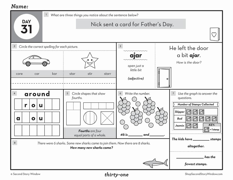 Summary Worksheets 2nd Grade Lovely 2nd Grade Daily Spiral Review Worksheets Educational