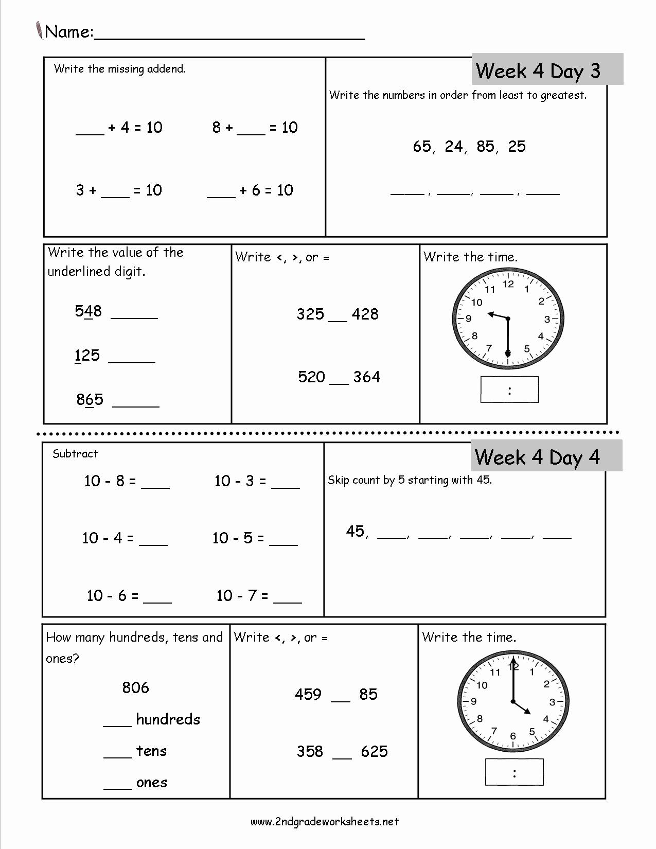 Summary Worksheets 2nd Grade New Free 2nd Grade Daily Math Worksheets