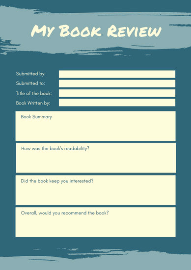 Summary Worksheets Middle School Luxury Blue Brushstroke Middle School Book Review Worksheet