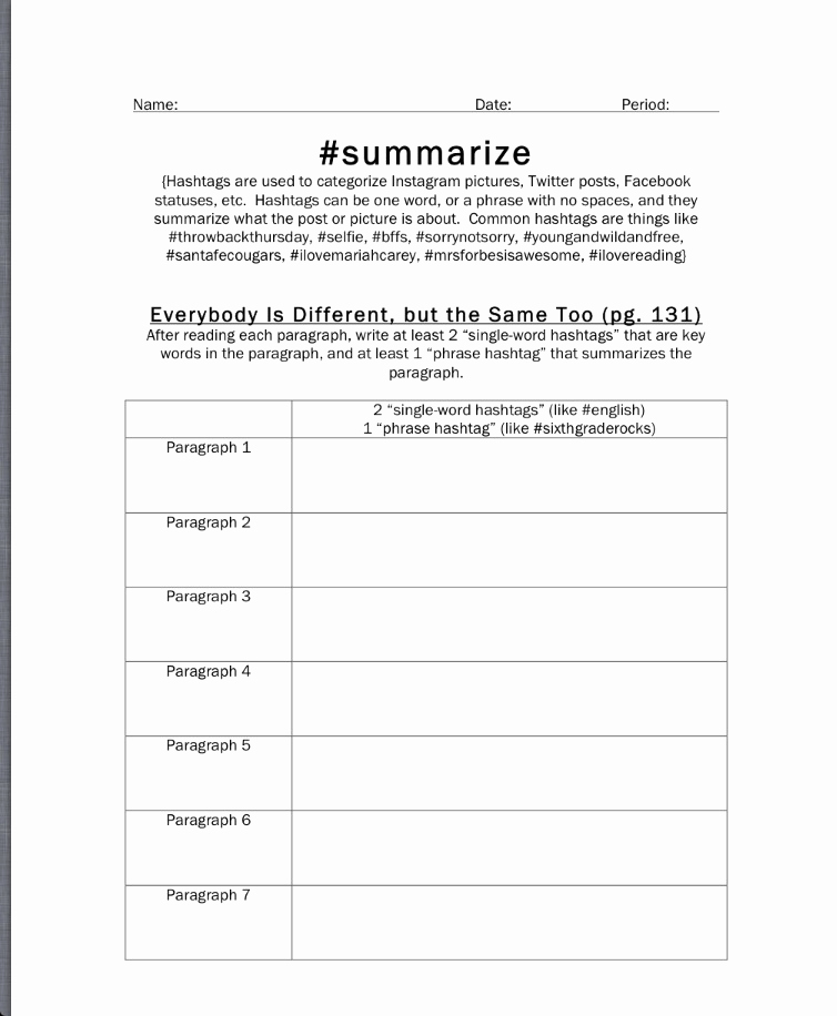 Summary Worksheets Middle School Luxury Summarize