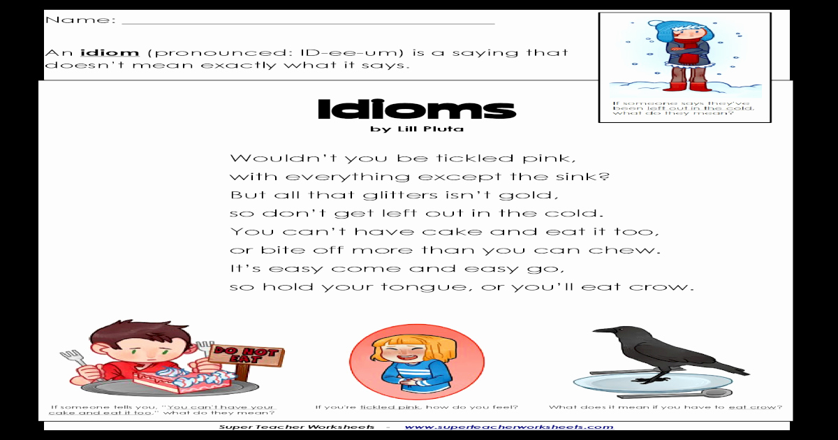 Super Teacher Worksheets Idioms Awesome by Lill Pluta Super Teacher Worksheets Key Idioms Use