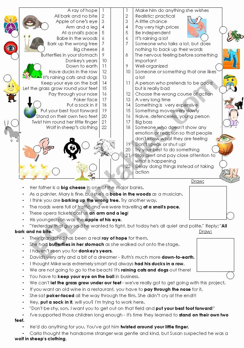 Super Teacher Worksheets Idioms Awesome Idioms Esl Worksheet by Foliage55